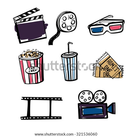 Set of hand drawn vector illustrations Cinema symbols. Doodle sketches of popcorn, soda cup, 3D glasses, cinema tickets, reel, filmstrip and clapper and other isolated objects on white background. - stock vector