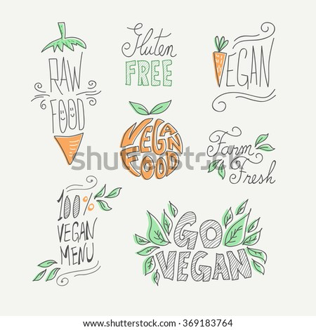 Set of hand drawn vegan food labels with text and doodle fruit decoration: farm fresh, gluten free and raw eating. EPS10 vector.