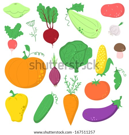 Set of hand-drawn vegetables, without contour icons