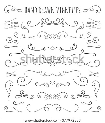 Embellishments stock images royalty free images vectors set of hand drawn vignettes in retro style elegant vintage calligraphic borders and dividers for stopboris Image collections