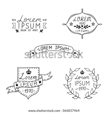 Set of hand drawn vintage labels. Templates for design of labels, emblems, logotypes. Vector illustration. - stock vector