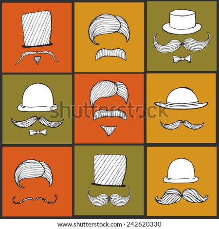Set of  hand drawn vintage silhouettes of bowler, fedoras, top-hats, mustaches. Hipster style elements. - stock vector