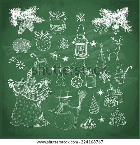 Set of hand-drawn vintage sketchy christmas elements on blackboard. Doodle sketch vector illustration. Candles, gift boxes. snowmen, pomanders.