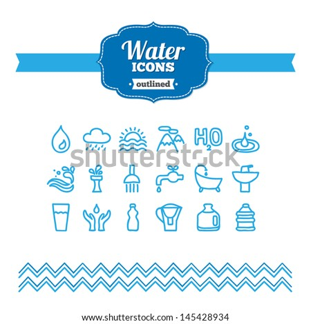 Set of hand drawn water icons - stock vector