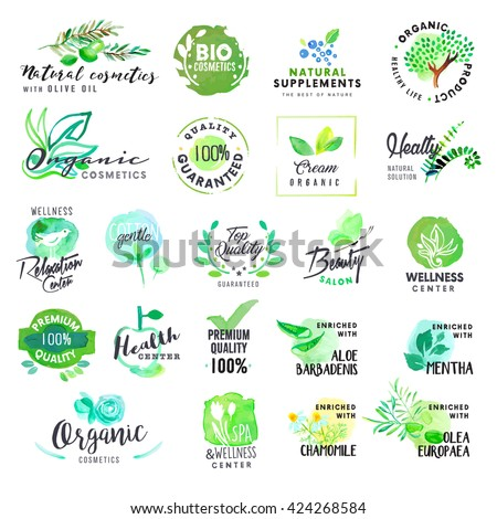 Set of hand drawn watercolor labels and badges for cosmetics and health care. Vector illustrations for graphic and web design, for natural products, spa and wellness, beauty and healthy life. - stock vector