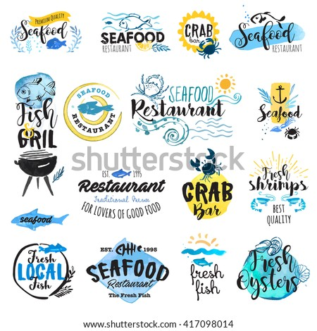 Set of hand drawn watercolor labels and badges of seafood. Vector illustrations for graphic and web design, for restaurant, menu, fish market. - stock vector