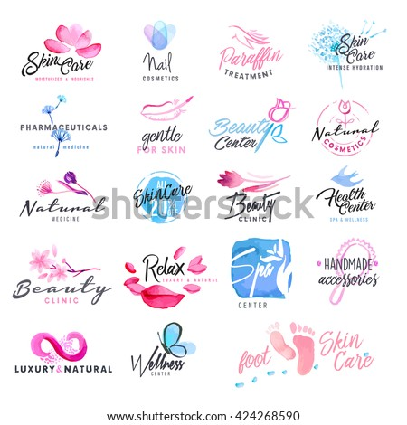 Set of hand drawn watercolor signs for beauty, healthy life and wellness. Vector illustrations for graphic and web design, for cosmetics, natural products, spa, beauty center. - stock vector