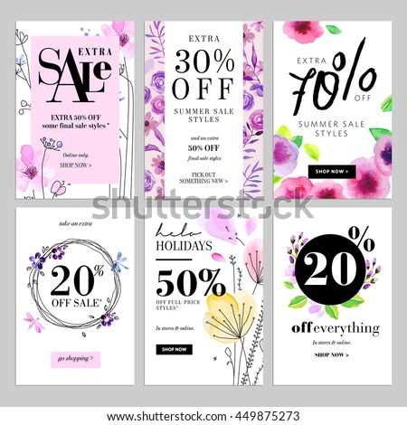 Set of hand drawn watercolor social media sale banner templates. Vector illustrations for website and mobile website social media banners, posters, email and newsletter designs, promotional material.
