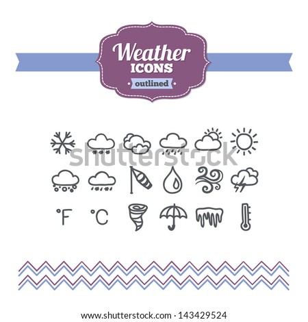 Set of hand-drawn weather icons - stock vector