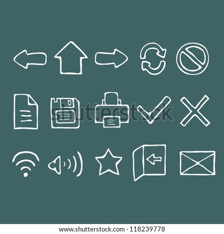 Set of hand drawn web icons, vector illustration - stock vector