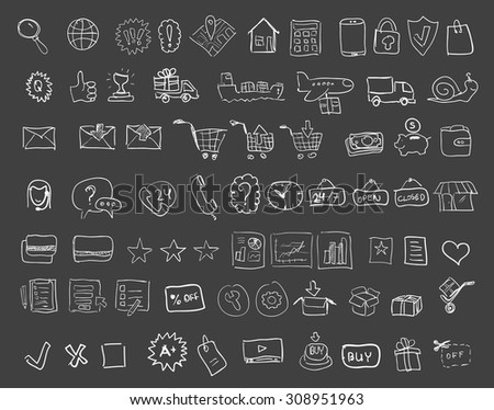 Set of hand drawn web shopping and online e-commerce vector icons