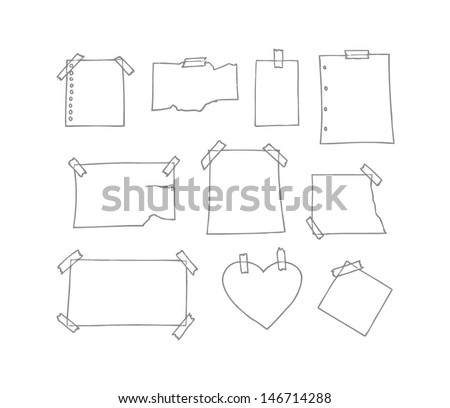 Set of hand drawn white note paper fixed on wall with sticky tape.  Rectangular, heart, and square shape. Ripped. Drawing line. Isolated in white background. - stock vector