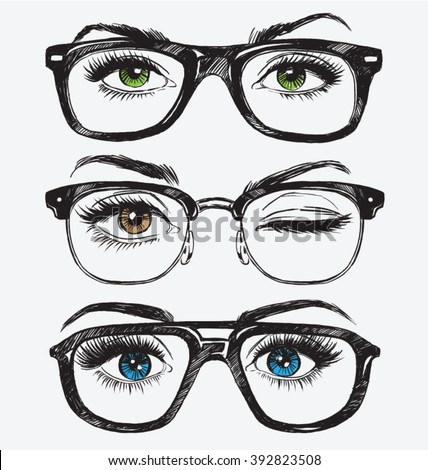 Set of hand drawn women's eyes with hipster glasses