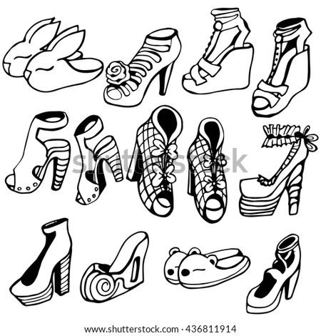 Set of hand drawn  women shoes. Summer fashion collection. Black and white. - stock vector