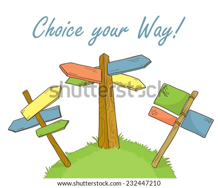 Set of hand drawn wooden road signs. Roadsigns in wood illustration. Colorful. - stock vector