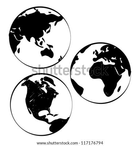 Set of Hand-drawn world maps - stock vector