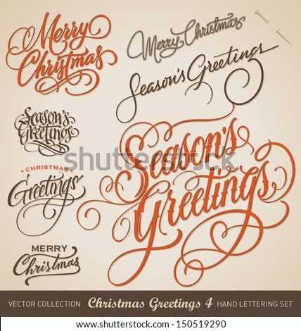 Set Of 7 Hand Lettered CHRISTMAS GREETINGS Handmade Calligraphy Vector Eps8