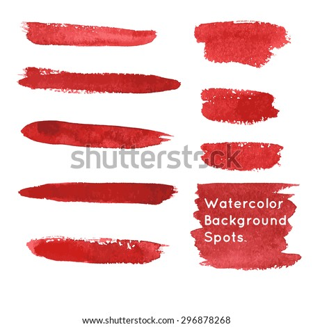 Set of hand-painted brush strokes and spots. Red watercolor stripes isolated on white background. Vector illustration. - stock vector