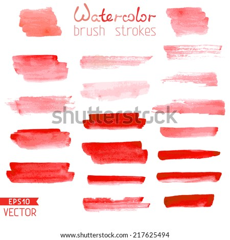Set of hand-painted brush strokes. Red watercolor stripes isolated on white background. Vector illustration. - stock vector