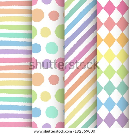 Set of 4 hand painted decorative geometric seamless patterns. Colorful pastel rainbow backgrounds. Vector illustration - stock vector