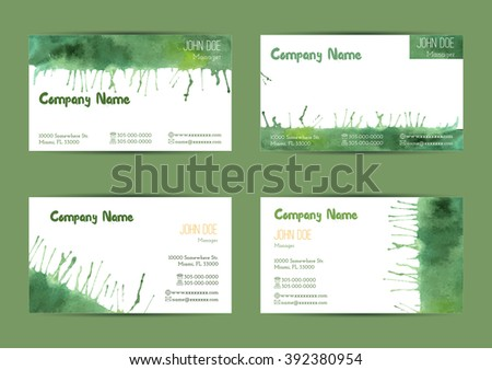 Set of hand painted watercolor horizontal business card templates. Colorful, bright abstract, green brush strokes and splashes on a white background. Complied with the standard size. - stock vector