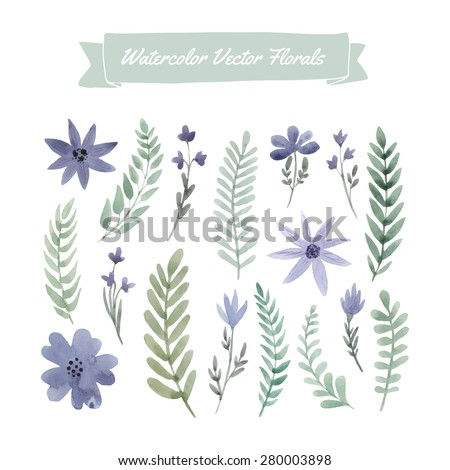 Set of hand painted watercolor vector flowers and leaves. Design element for summer wedding, spring congratulation card.Perfect floral elements for save the date card. Unique artwork for your design.   - stock vector