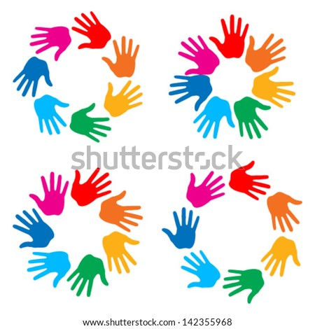 Set of Hand Print icons, vector illustration - stock vector