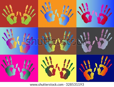 set of hand print ,vector illustrations