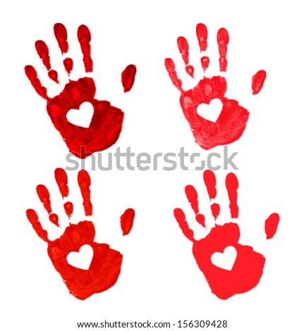 Set of Hand prints with heart icon, vector illustration  - stock vector