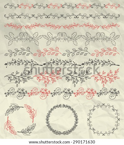 Set of Hand Sketched Doodle Design Elements. Artistic Hand Sketched Decorative Doodle Vintage Seamless Borders and Frames on Crumpled Paper Texture. Pen Drawing Vector Illustration. Pattern Brushes - stock vector