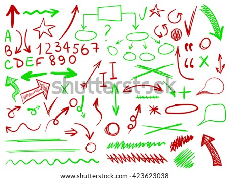 set of hand-sketched icons. Elements for planning or text correction. Hand-drawn arrows. Red and green elements.  - stock vector