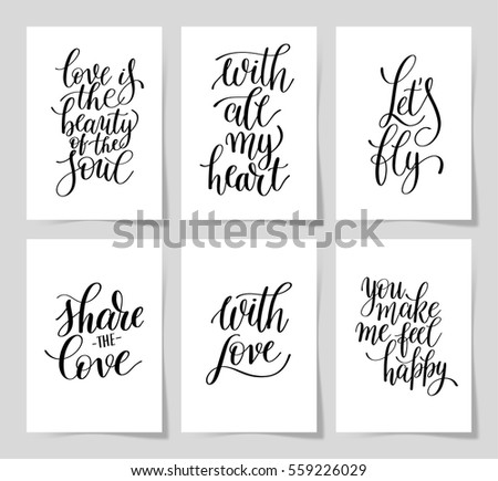 Wedding Quotes Love Mesmerizing Set 6 Hand Written Lettering Positive Stock Vector 559226029