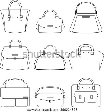 Set of handbags illustration on white background - stock vector