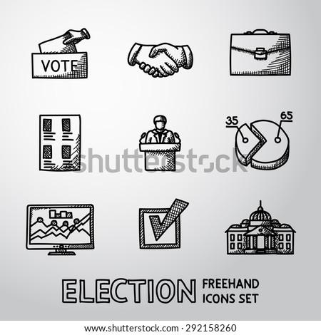 Set of handdrawn ELECTION icons with - vote box, handshake, portfolio, vote list, speaking man, infographics, check box, white house. vector - stock vector