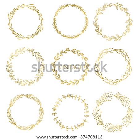Set of Handdrawn ink painted gold floral  wreaths and laurels. Vintage vector golden elements for wedding, holiday and greeting cards, web, prind scrapbooking  design and other