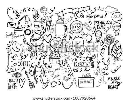 Set of handmade doodles with motivaton lettering. Vector outline illustartion, ideal fordesign of bullet journal, blog, web site etc.