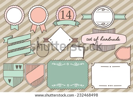 Set of handmade labels. Made in vintage style. Ispolzavat pastel shades of pink, mint and beige colors