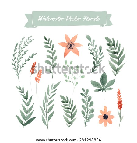 Set of handpainted watercolor vector flowers and leaves. Design element for summer wedding, spring congratulation card. Perfect floral elements for save the date card.  - stock vector