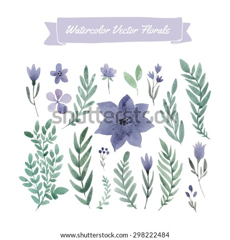 Set of handpainted watercolor vector flowers and leaves. Design element for summer wedding, spring congratulation card.Perfect floral elements for save the date card. Unique artwork for your design.   - stock vector