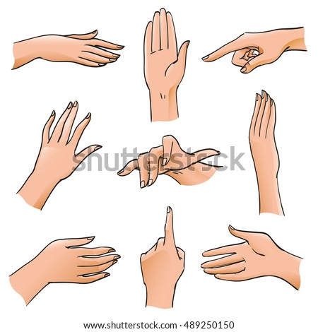 Set of Hands and Fingers in Different Positions and Gestures. Body Part angles deployed palm, stop gesture, index, pointer for illustrations, design diagrams and instructions, isolated vector objects
