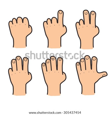 Set of hands and fingers showing numbers. Vector color illustration. - stock vector