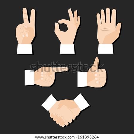 Set of hands gestures vector illustration - stock vector