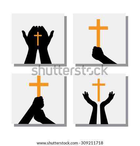 set of hands holding Christian cross - vector icons. this also represents people praying to God, seeking blessings from Jesus - stock vector