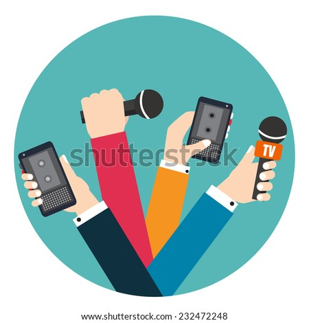Set of hands holding voice recorders and microphones. Live news. Press illustration. - stock vector