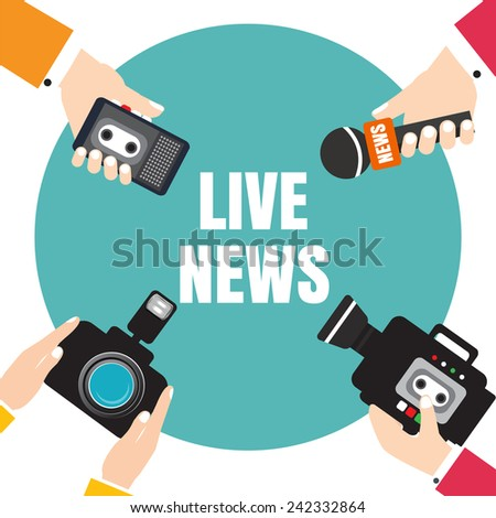 Set of hands holding voice recorders, microphones, camera. Live news. Press illustration. - stock vector