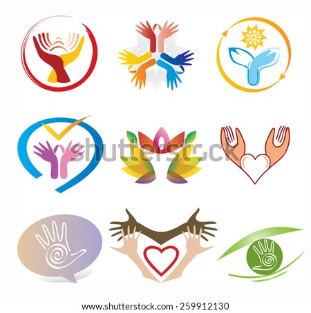Set of Hands Icons / Collection Decorative Elements - stock vector