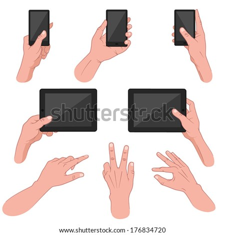 Set of hands using smart phone, tablet, mobile device - stock vector