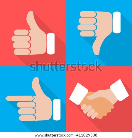 Set of hands with fingers on different backgrounds in  flat vector illustration - stock vector