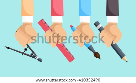 Set of hands with tools for design. Architect designer for project drawings. Architect hands with pencil and ruler. Architects workplace. Technical project. - stock vector