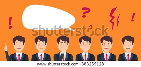 Set of handsome emotional businessman with speech bubble. Young office man collect expressions. Vector illustration - stock vector